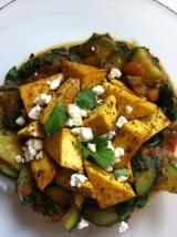 Smoky Tofu with Serrano Spiced Zucchini andSpinach