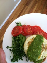 Open Faced Egg Sandwich with Spinach Pesto and Pea Shoots