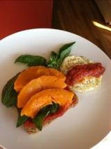 Butternut Squash, Basil, Egg and Marinara onToast