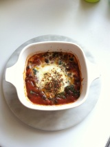 Baked Egg with Spinach and BlackBeans