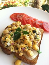 Open Faced Smashed Chickpea Salad Sandwich