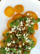 Golden Beet Salad with Parsley Mint Vinaigrette
